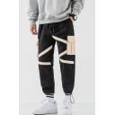 Men's New Fashion Colorblock Patched Flap Pocket Drawstring Waist Street Trendy Casual Cotton Cargo Pants