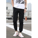 Men's New Stylish Letter Printed Drawstring Waist Black Casual Cotton Sports Cargo Pants
