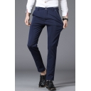 Basic Simple Plain Men's Straight Fitted Tailored Suit Pants Business Dress Pant
