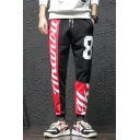 Men's Trendy Colorblock Letter 8 Printed Drawstring Waist Casual Relaxed Sweatpants