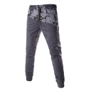 Men's New Fashion Popular Camouflage Printed Button Embellished Drawstring Waist Casual Cotton Sweatpants