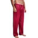 Men's Hot Fashion Simple Plain Drawstring Waist Wide Leg Home Wear Pants