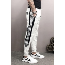 Men's New Fashion Stripe Pattern Zipped Pocket Casual Sports Sweatpants