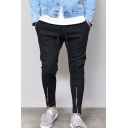 Men's Simple Fashion Solid Color Zippered Vent Black Slim Jogging Pants Sports Pencil Pants