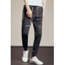 Guys New Fashion Simple Plain Drawstring Waist Black Casual Relaxed Sweatpants