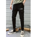 Men's New Fashion Letter POWER Printed Flap Pocket Side Casual Cotton Cargo Pants
