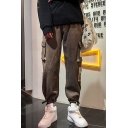 Guys New Fashion Letter Label Patched Drawstring Cuffs Multi-pocket Casual Loose Cargo Pants
