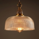Lattice Glass Dome Ceiling Pendant 1 Light Antique Style Pendant Light in Brass for Coffee Shop