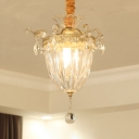 Dome Living Room Pendant Light Metal & Clear Crystal 1 Head Mini Chandelier in Gold Finish