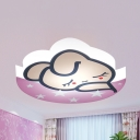 Girls Bedroom Sleeping Bunny Flushmount Light Acrylic Cartoon Brown/Pink/White/Yellow Ceiling Lamp