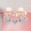 5/6 Lights Horse Pendant Lights Animal Metal Resin Chandelier in Blue/Pink for Girls Bedroom