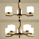 Restaurant Cube Shade Hanging Light Milk Glass & Wood 3/5 Heads Chandelier in White