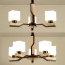 Restaurant Cube Shade Hanging Light Milk Glass & Wood 3/5 Heads Chandelier in White