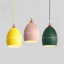 Egg Restaurant Kitchen Hanging Light Metal One Light Macaron Style Pendant Lamp in Green/Pink/Yellow