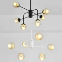 Clear Glass Orb Shade Chandelier Light Six Lights Modern Stylish Hanging Light in Black/White