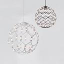 Black/White Spherical Cage Chandelier Postmodern Metal Pendant Light in Warm for Hotel Villa