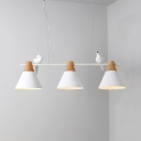 Cone Dining Table Island Light with Pigeon Wood 3 Heads Simple Style Island Pendant in White