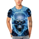 Trendy Ice and Fire Skull 3D Printed Round Neck Short Sleeve T-Shirt