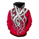 Unique Funny Octopus Pattern Long Sleeve Sport Loose Drawstring Hoodie
