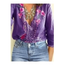 Womens Chic Floral Embroidery V-Neck Casual Loose Blouse Top