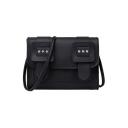 Trendy Solid Color Belt Buckle Rhinestone Embellishment PU Leather Crossbody Sling Bag 18*7*15 CM