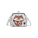 Lovely Cartoon Fox Pattern Colored Bead Embellishment PU Leather Crossbody Purse 21*18*9 CM