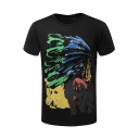 Unique Tribal Feather Indian Printed Mens Round Neck Short Sleeve Black Slim T-Shirt