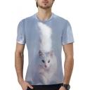 3D Cat Printed Basic Round Neck Short Sleeve Unisex T-Shirt