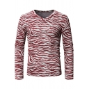 Mens New Stylish Pattern V-Neck Long Sleeve Slim Fitted T-Shirt