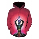 Fashion Figure 3D Printed Long Sleeve Loose Fit Pullover Red Hoodie