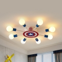 American Style Star Semi Ceiling Mount Light Metal 8 Lights White Ceiling Lamp for Boys Bedroom