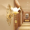 Glass Flower Wall Light with Teardrop Crystal Bathroom 1/2 Heads Elegant Wall Lamp in Gold