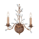 2 Lights Canle Wall Light with Crystal Leaf Antique Stylish Metal Sconce Light in Oiled Rubbed Bronze for Hotel