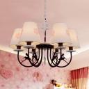 Modern Stylish Ballerina Chandelier Metal 4/6 Lights Black Pendant Light with White Shade for Child Bedroom