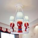 Movie Character Child Bedroom Chandelier Metal 3 Lights American Style Hanging Light in White