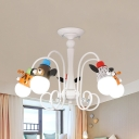 5 Lights Animal Chandelier Lovely Metal Pendant Light in White Finish for Kid Bedroom