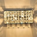 Bathroom Bedroom Rectangle Wall Lamp Striking Crystal Contemporary Sconce Light