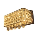 Dining Room Rectangle Wall Light with Glittering Crystal Stainless Steel 4 Lights Modern Wall Lamp