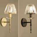 Glittering Crystal Tapered Shade Wall Light 1 Light Modern Sconce Light in Black/Gold for Bedroom