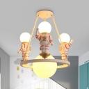 Resin Astronaut Ceiling Pendant Study Room 4 Heads Modern Stylsih Hanging Light in White