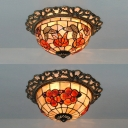 Rustic Tiffany Bowl Ceiling Mount Light with Butterfly/Flower Stained Glass Ceiling Lamp for Bedroom
