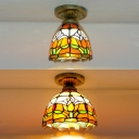 Single Light Tulip Ceiling Lamp Rustic Tiffany Stained Glass Flush Light for Kitchen Foyer