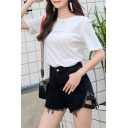 Students Summer Trendy Black High Waist Frayed Hem Denim Shorts