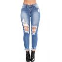 Womens Trendy Dark Blue Distressed Ripped Skinny Fit Denim Jeans