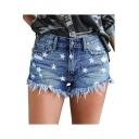 Hot Popular Fashion Allover Star Printed Frayed Hem Hot Pants Denim Shorts