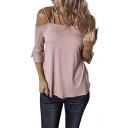Womens New Fashion Solid Color Sexy Strappy Flared Sleeve Casual Loose T-Shit