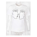 Summer Funny Simple Abstract Line Figure Print Short Sleeve White T-Shirt