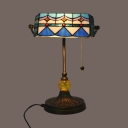 Antique Tiffany Banker Lamp with Pull Chain 1 Light Stained Glass Table Light for Study Room