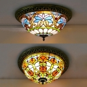 Corridor Baroque/Victorian Ceiling Lamp Stained Glass 4 Lights Tiffany Flush Mount Light