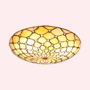 Beige Umbrella Flush Mount Light Simple Style Art Glass Ceiling Light with Bead for Corridor